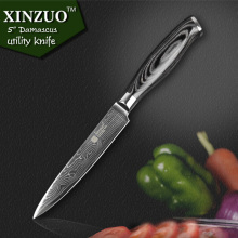 XINZUO 5″inch utility knife 73 layers Japanese Damascus kitchen knife sharp Multi-purpose cutter knife wood handle free shipping