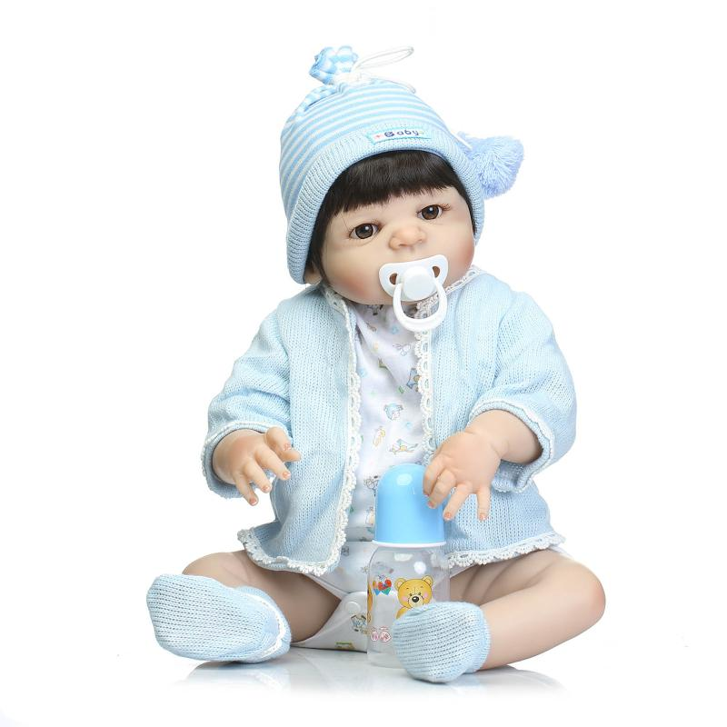Nicery 22inch 55cm Bebe Reborn Doll Hard Silicone Boy Girl Toy Reborn Baby Doll Gift for Children Blue Sweater Cloth Baby doll nicery 22inch 55cm bebe reborn doll hard silicone boy girl toy reborn baby doll gift for children blue dino cloth hat baby doll