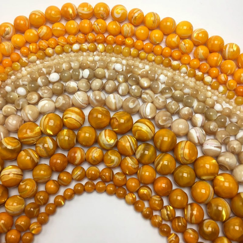 Free Shipping Natural Brown yellow Trochus Sea Shell Round Loose Beads 2 3 4 5 6 <font><b>7</b></font> 8 9 10 <font><b>12</b></font> 14 <font><b>MM</b></font> Pick Size for Jewelry Making image