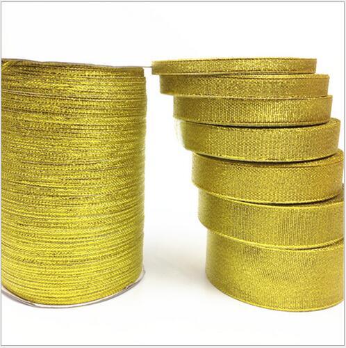 (25 ярдов/рулон) Золотая лента с одним лицом атласная лента оптовая продажа подарочная упаковка рождественские ленты