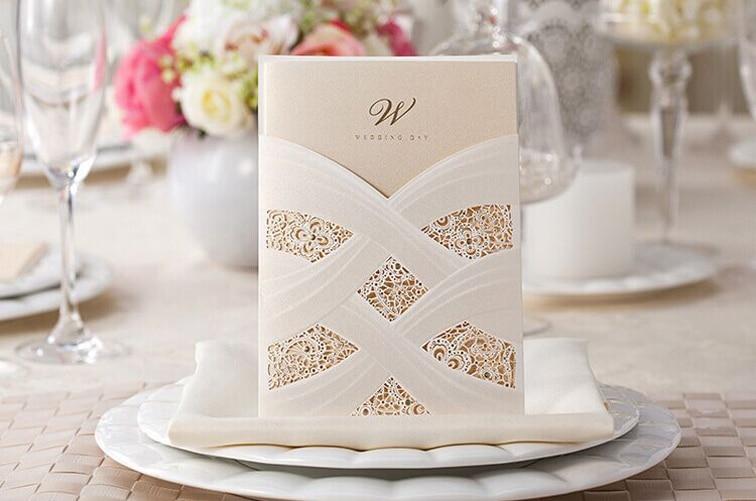 Alta calidad Wedding Inviation Card 127 * 180mm Laser Art, Dignity - Para fiestas y celebraciones