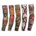 6pcs=3pair Multi-Colors Superfine Fiber Cycling Fake Tattoo Sunscreen Sleeve Designs Body Arm Stockings for Cool Men Women