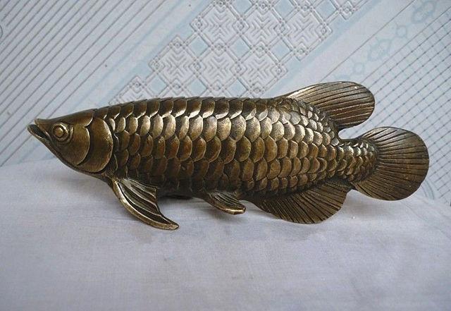 Chinese Folk Culture HandMade Brass Bronze Statue Fish Sculpture