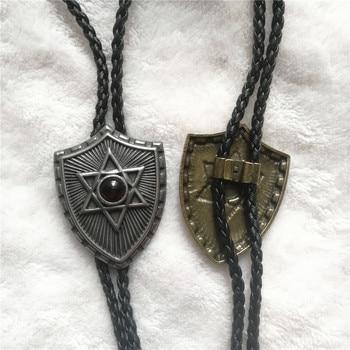 Bolo Tie New retro shirt chain Shield six-star collar necklaces long neckties pendant six star pro nutrition 100