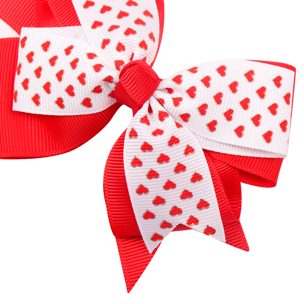 4.5 Sweet Heart Print Hair Bows Pink Red Dot Hair Clips For Girls/kids Lovely Valentines Day Hairgrips Hair Accessories Girls' Clothing
