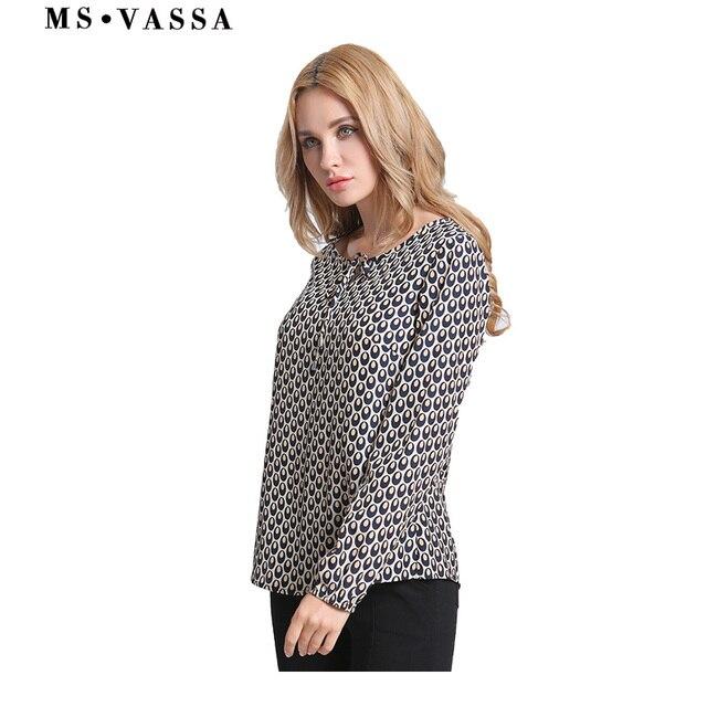 casual dot long sleeve Blouses ladies O-neck  2