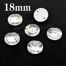 80pcs/box 18mm Sew-On Stone Crystal Clear Color Flatback Round Sewing Crystal Rhinestones For clothing decoration SF0091