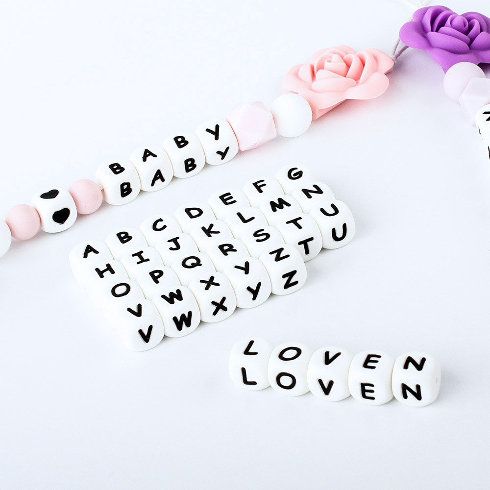 15/36/100/200/500/1000pcs Letter Silicone Beads 12mm Baby Teether Beads Chewing Alphabet Bead For Personalized Name DIY Teething