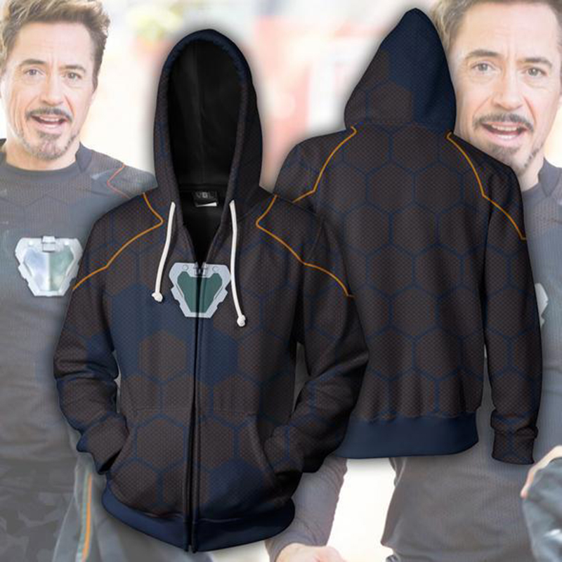 Avengers Iron Man Tony Stark 3D Printed Hoodies Unisex Superhero Streetwear Casual Zipper Sweatshirt Women Men Hooded 2 Styles