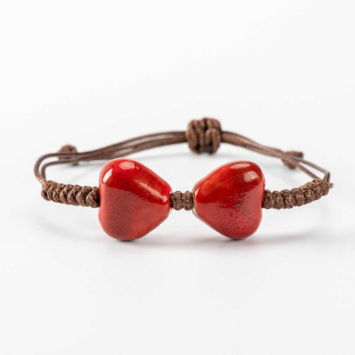 Bracelet en perles de céramique en forme de coeur Boho bricolage Boho bricolage bracelets en céramique livraison directe en gros # HY529
