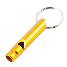 DHDL-2pcs Pocket Pet Dog Puppy Cat Training Sound Whistle Keychain Yellow