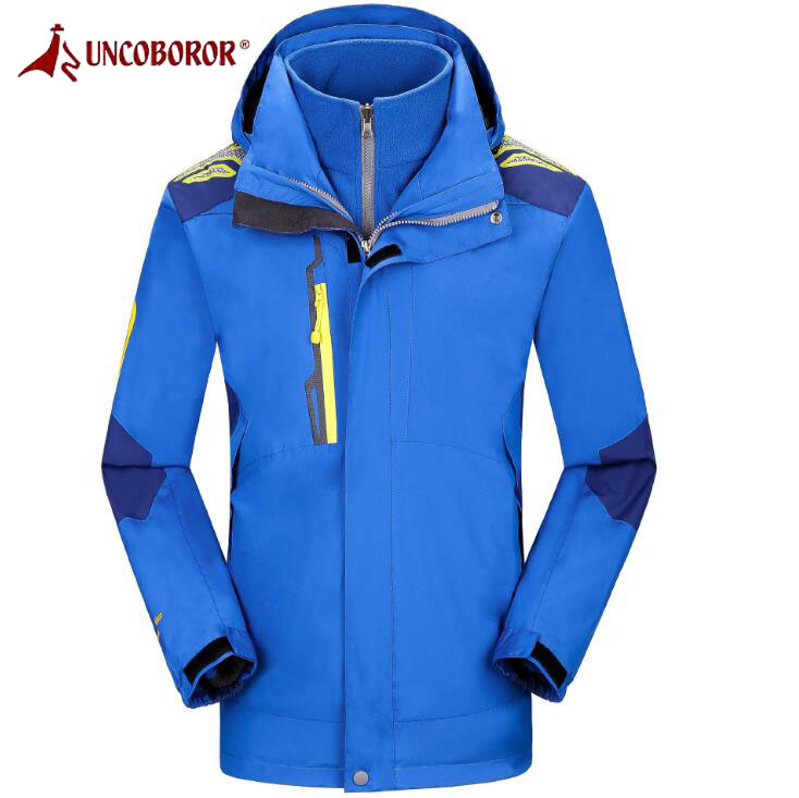 UNCO&BOROR Softshell Jackets Mens Women Outdoor Hiking Climbing Parka Coats Windproof Waterproof Fleece Lining 2Pieces Jackets