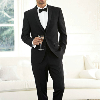 2017 Handsome Groom Tuxedo Groomsmen Black Wedding Dinner Evening Suits Best Man black Bridegroom suit (Jacket+Pants+Tie+Vest)
