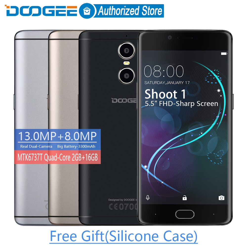 DOOGEE Shoot 1 Dual Rear Cameras Fingerprint 5.5Inch FHD 2GB+16GB LTE mobile phones Android 6.0 MTK6737T Quad Core 3300mAH 2 SIM