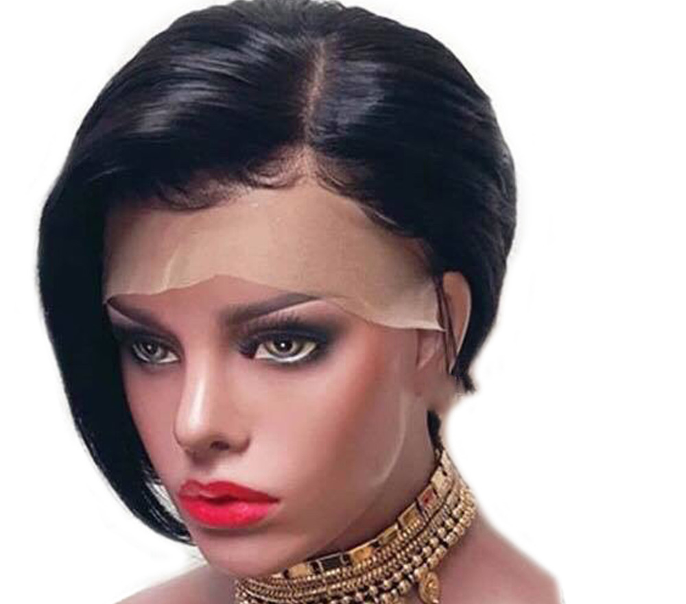 3d6a104645b Straight Lace Front Wig Bob Short Human Hair Wigs With Bangs For Black  Women Bleached Knots