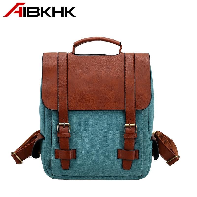 AIBKHK High Quality PU Leather Women Backpack Soft Fabric Fashion Travel bag Western Cowboy Teen girl Press button Schoolbag