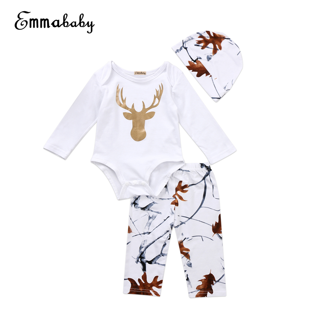 2018 New Fashion 3Pcs Lovely Baby Set Infant Baby Boy Girl Autumn Long Sleeve Clothes Bodysuit Jumpsuit Pants Cute Outfits Set