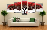 5 Piecesset Multi Combination Red Tree Big Art Painting Printed Modern Decorative Picture Printed Canvas Painting