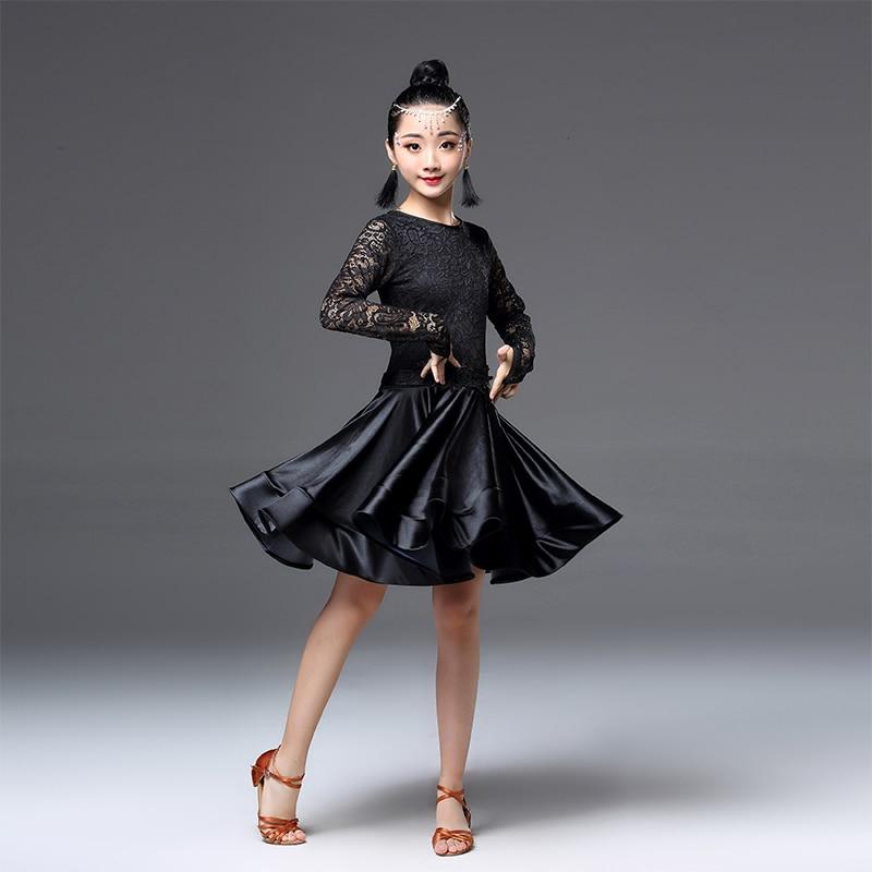 Image 2 - Платье для латинских танцев для девочек, с длинными рукавами, с кружевом, стандартные Бальные платья для детей, одежда для выступлений, одежда для сальсыЛатинский    АлиЭкспресс