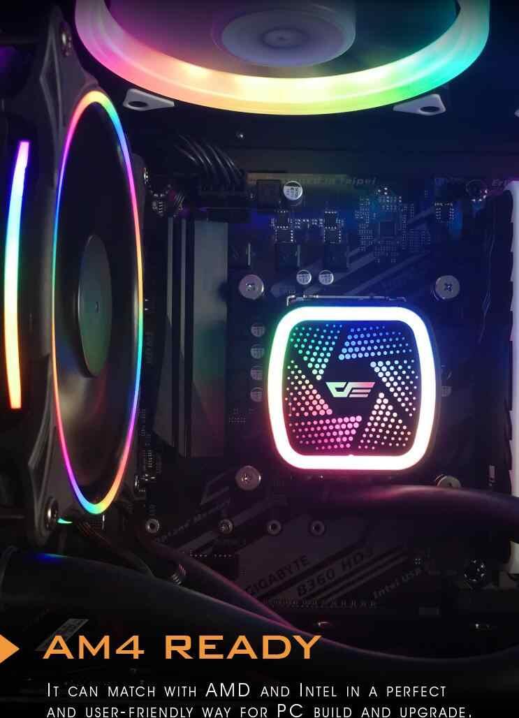 Darkflash Nước mưa Làm Mát Đá Tháp T120 Nước Mát có ĐÈN LED 120mm 4pin PWM CPU Quạt Làm Mát cho Inetel và AMD tất cả CPU