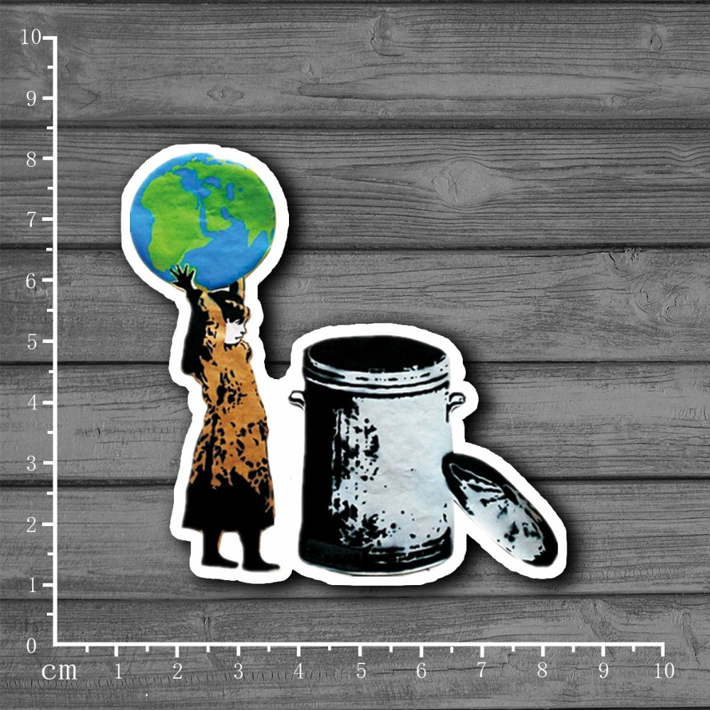 Trash the earth girl Stationery Graffiti Suitcase Kids Toys Sticker Decor For Ablum Scrapbooking Laptop Notebook Sticker[Single]