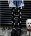 Nueva tejer moda mujer ' s altos leggings elásticos con cruz blanca impreso moda leggings Top el envío libre del tamaño