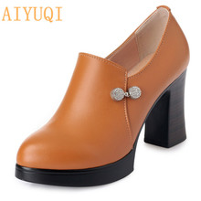 AIYUQI Shoes high heels woman 2019 spring new ladies shoes genuine leather  yellow platform sexy women Party pumps