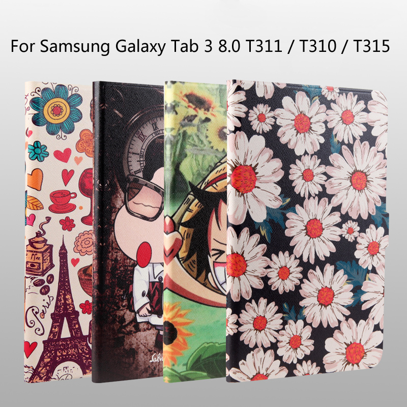 Fashion painted Pu leather stand holder Cover Case for Samsung Galaxy Tab 3 T310 T311 T315 8.0 inch Tablet + Gift цена