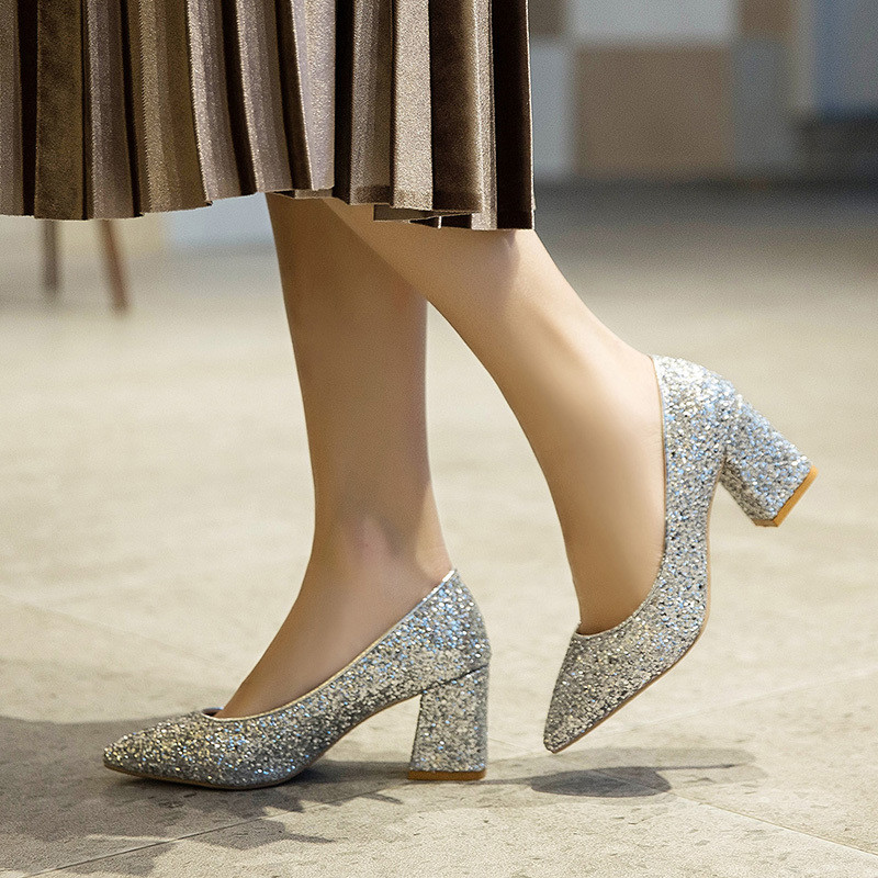 Mixed Colors Bling High heels pumps women shoes 2019 spring autumn shoes women Fashion Shallow Pointed Square heel Wedding shoes 5