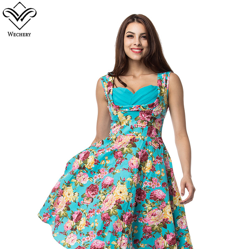 Wechery  New Popular Sleeveless Sexy Dress Printed Vestidos Knee-Length Summer Dresses  A-Line Cute Student Office Party Dresses