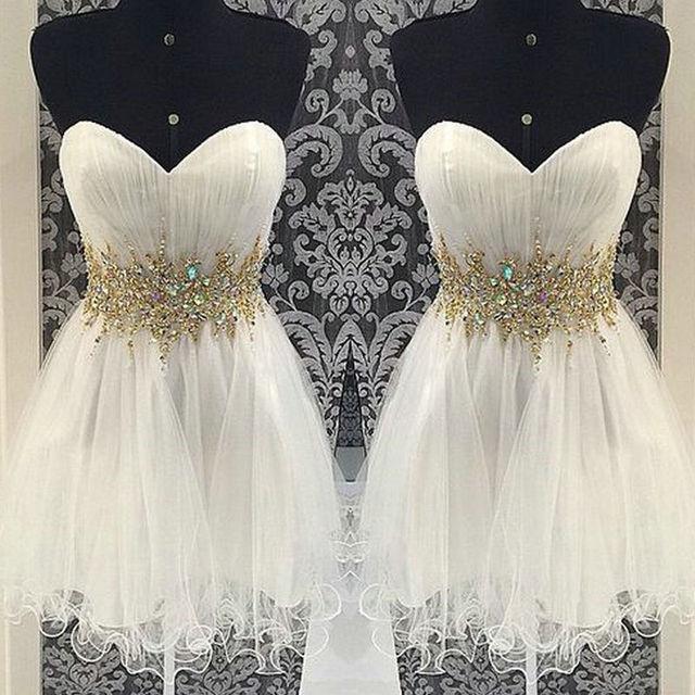 Querida Beading Organza Curto Vestido de Baile 2016 Mini Regresso A Casa Vestido de festa curto vestidos vestido de Festa vestido de 15 años curto
