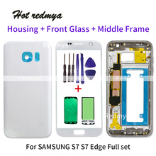 S7 Edge Middle Frame Battery Back Cover For Samsung Galaxy S7 G930F S7 edge G935F Full Housing With Touch Glass Lens +Sticker чехол epik ultrathin series 0 33mm для g935f galaxy s7 edge