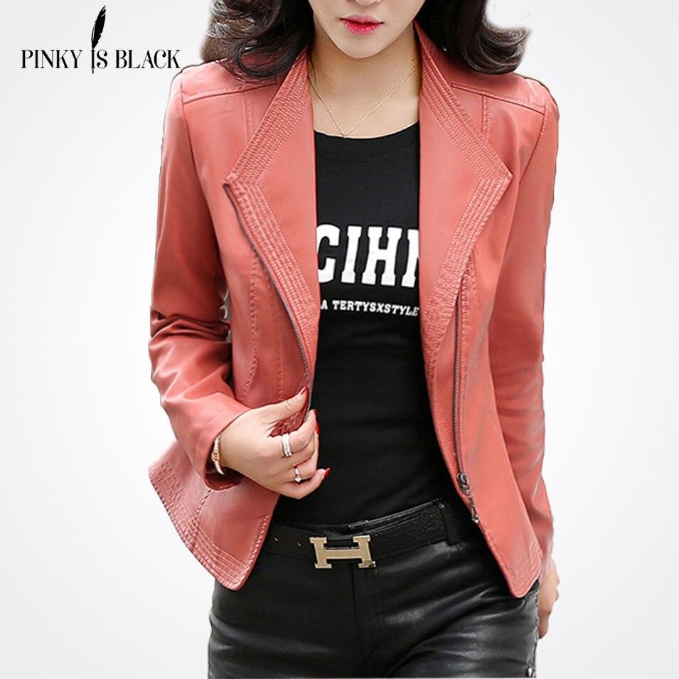 Motocicleta Negro Slim Cuero Abrigos Negro lavanda rosado Chaquetas Pu S De Sólido Más Mujeres Casual 2017 rojo 5xl Pinky Nuevo Es Tamaño Chaqueta fT6qxq4S