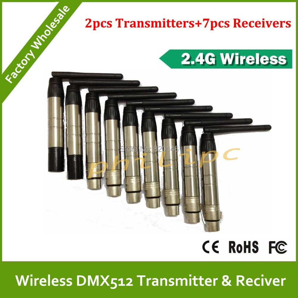 DHL Free Shipping Wireless DMX 2pcs transmitters and 9pcs receiver DMX512 wireless console LED par light stage light