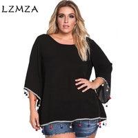 LZMZA Fashion Large size Blouse Women Summer O-Neck Chiffon Blouse Top Tassel Bohemian blouse shirt Female