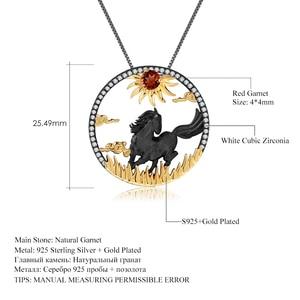 Image 5 - Pendentif de BALLET en argent Sterling 925, pierres précieuses de grenat rouge naturelle, fait à la main, soleil et cheval, collier pour femmes, bijoux du zodiaque