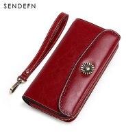 European Design Female Wallet Genuine Leather Vintage Large Card Holder Long Coin Purse Women Zipper Money