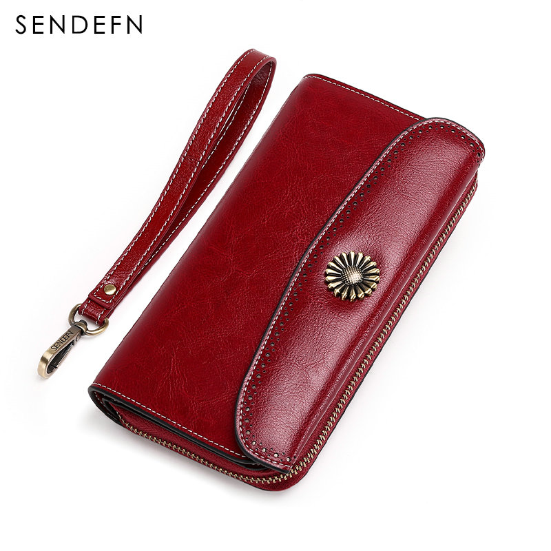 European Design Female Wallet Genuine Leather Vintage Large Card Holder Long Coin Purse Women Zipper Money Bag For iPhone 7 Plus casual weaving design card holder handbag hasp wallet for women