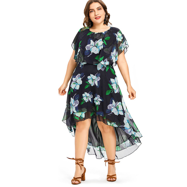 212fb4ae277 Wipalo Plus Size 5XL O-Neck Casual Capelet Flower Print Flowy Summer Dress  Asymmetrical Short Sleeves Large Sizes Vestidos