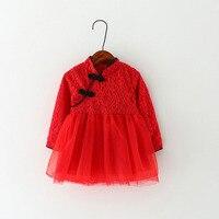 Baby Girl Clothes Princess Dress Birthday Party Wear Cotton Tutu Dress Chinese Style Cheongsam Newborn Girls Dresses Wholesale