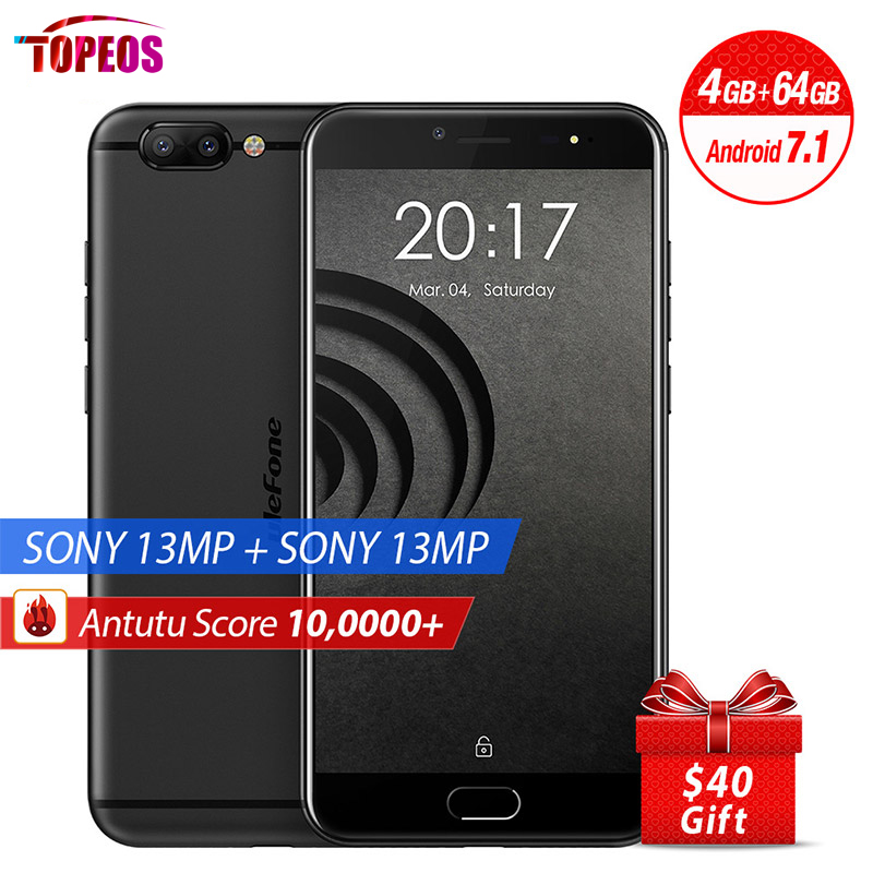 5.5 inch Ulefone Gemini Pro 13MP Dual Rear Cameras Mobile Phone Android 7.1 MTK6797 Deca Core 4GB RAM 64GB ROM Fingerprint 4G