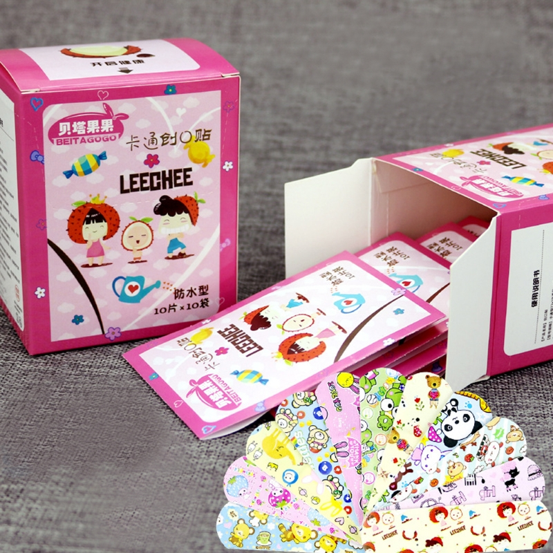100 Pcs Korea Cute Cartoon Waterproof Bandage Band-Aid Hemostatic Adhesive For Kids Children Braces Supports Random