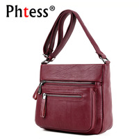 2018 Women Messenger Bags Soft Leather Vintage Crossbody Bags For Women Zipper Female Shoulder Bags Flap