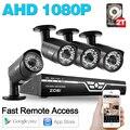 ZOSI 4CH 1080 P DVR 4 UNIDS AHD-H HD 2.0MP 1080 P En Tiempo Real al aire libre de Cámaras de Seguridad de Vídeo DVR Kits de Vigilancia CCTV Sistema de 2 TB HDD