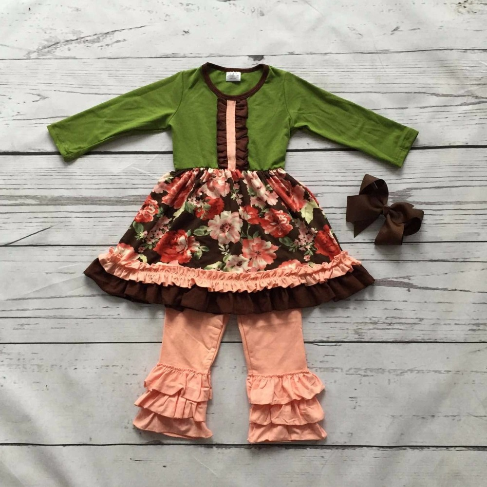 baby girls outfits kids Fall/winter pant sets ruffles outfits floral long sleeve cotton clothing with matching bow free ship fall winter long sleeve children clothing sets infant girls ruffle outfits knitted cotton newborn baby clothes f110