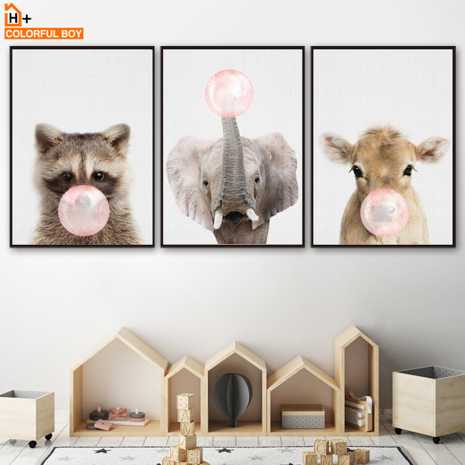 Elephant Cattle Raccoon Bubble Wall Art Canvas Painting Nordic Posters And Prints Wall Pictures Girl Boy Baby Kids Room Decor african elephant
