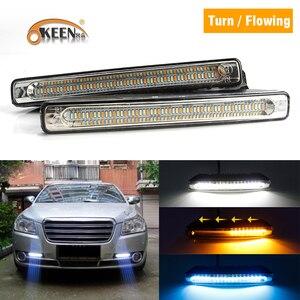 OKEEN 7inch 2x Universal Car LED Waterproof DRL Daytime Running Light Fog Lamp White Turn Signal Light Amber Night Driving Blue