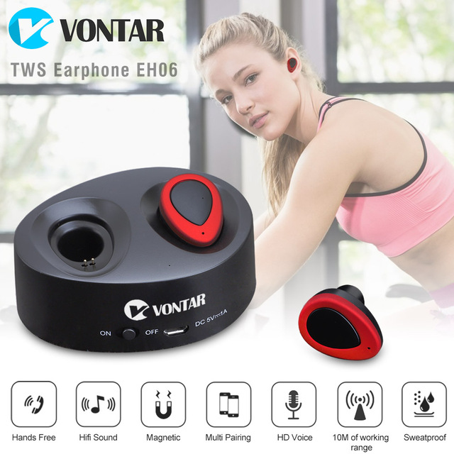 VONTAR EH06 TWS Mini Wireless Earbuds Twins Earphone Bluetooth Headphone With Battery Box Noise cancel Headset for Phones