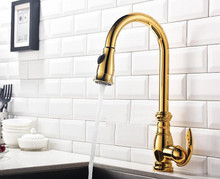 brass polished gold or brushed or ORB chrome kitchen faucet swivel pull out spout kitchen sink tap mixer torneira cozinha KF558