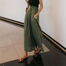 2019 Women High Waist Wide Leg Pants Casual Pleated Loose Pants Lace Up Boho Beach Linen Pants high waist lace up patchwork lace wide legs casual pants